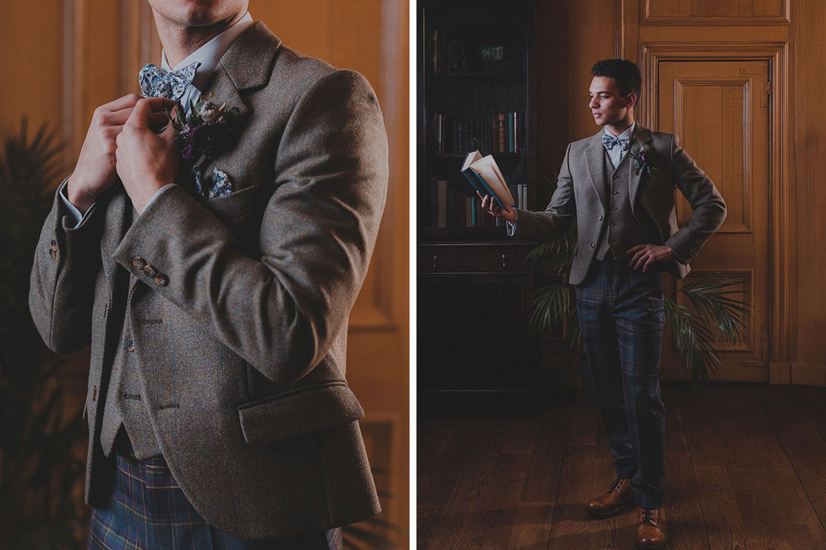 Groom at Riddle's Court in Edinburgh wearing tartan trews outfit by Gordon Nicolson Kiltmakers