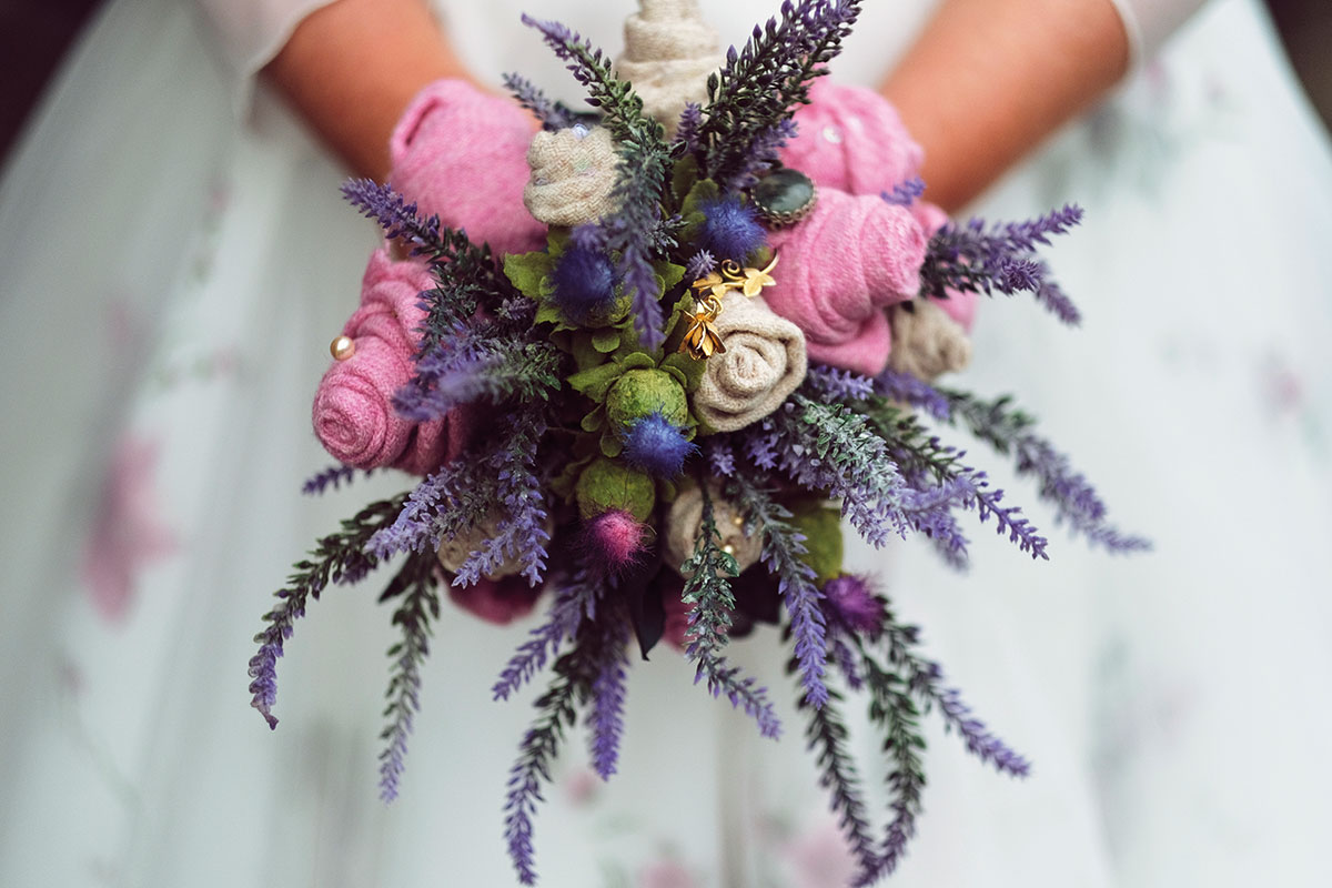 Harris Tweed handmade wedding bouquet