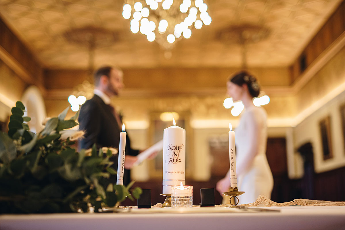 personalised wedding candles at Trades Hall Glasgow elopement