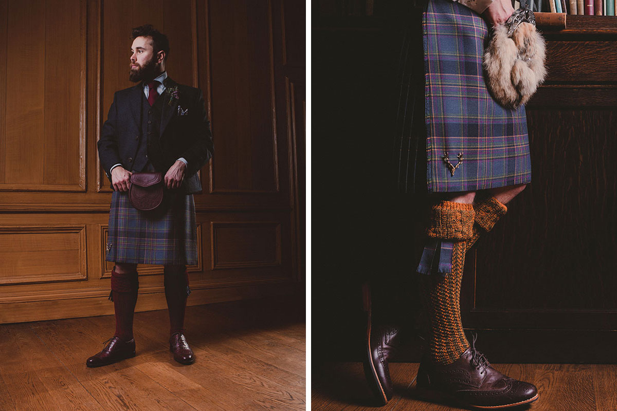 Groom at Riddle's Court in Edinburgh wearing kilt outfit by Gordon Nicolson Kiltmakers