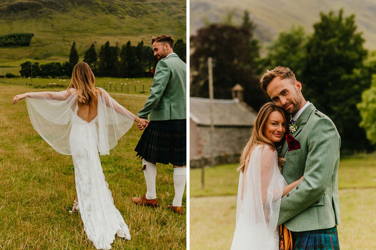 bride and groom walking and hugging in field at Glen Clova