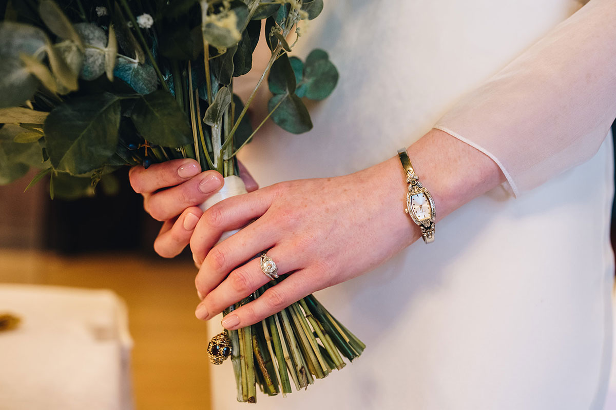 wedding ring, watch and bridal bouquet by Betty Bluebell