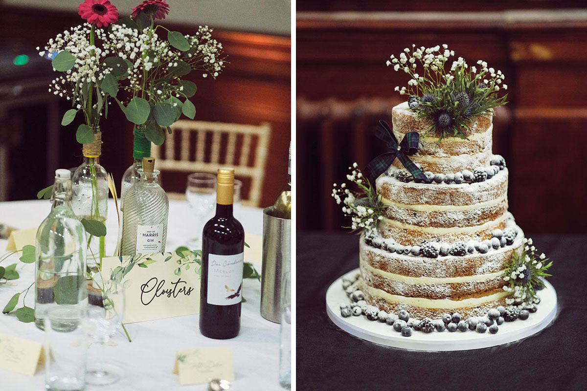 Table-setting-and-cake-at-Leith-Theatre-wedding
