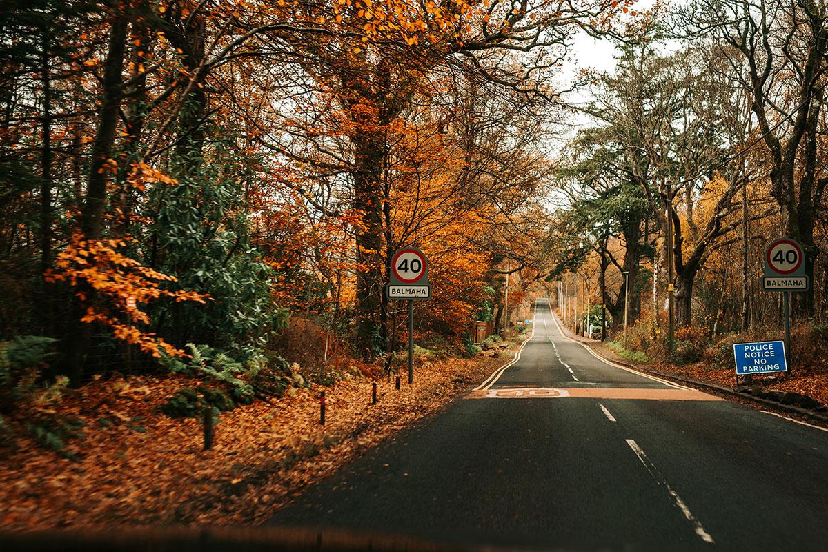road into Balmaha Loch Lomond in the autumn