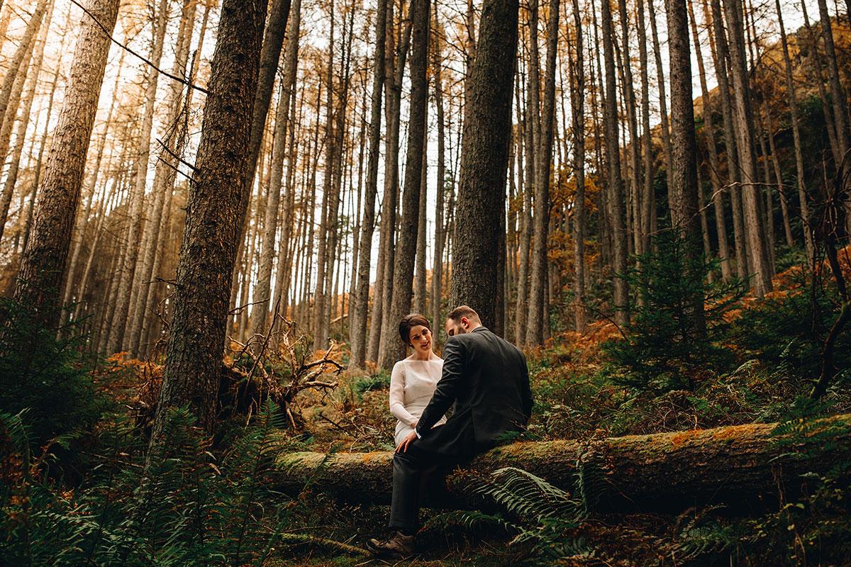 bride and groom sit on trunk of fallen tree in Balmaha Loch Lomond