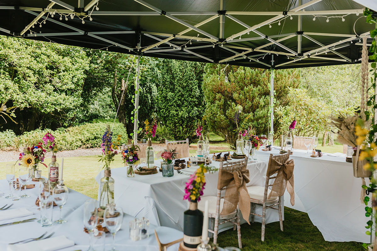 outdoor wedding under tent at Glen Clova Hotel and Lodges