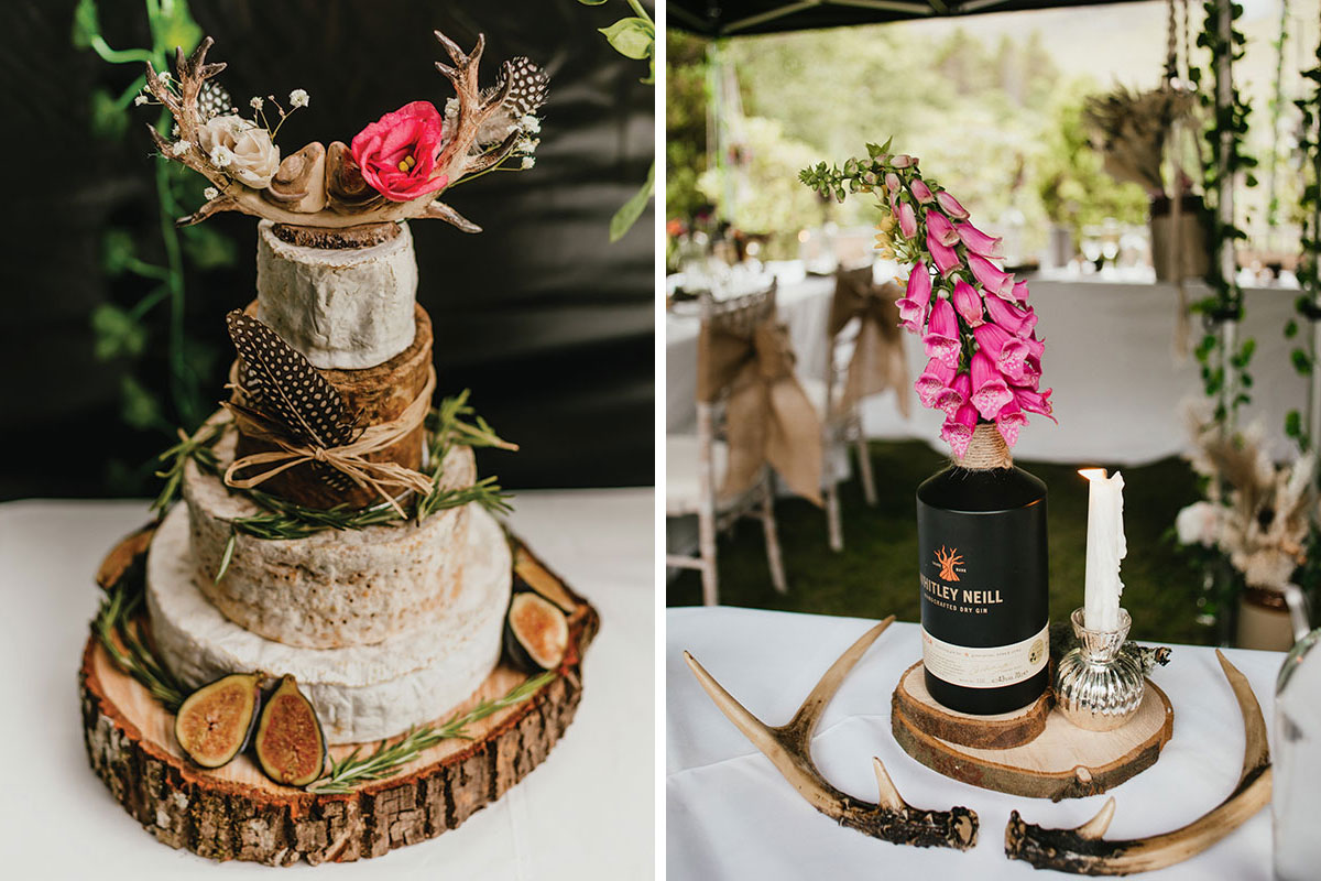 cheese wedding cake and Whitley Neill gin bottle filled with foxgloves
