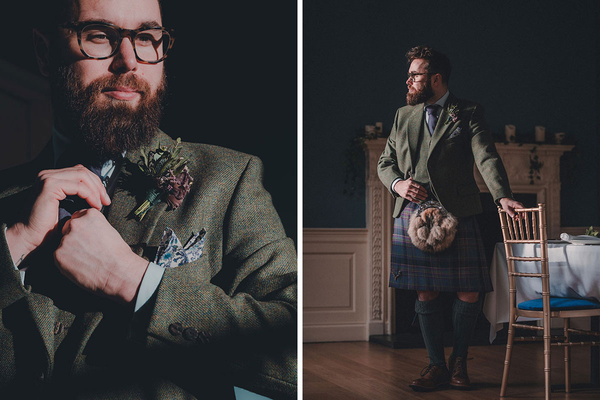 Groom wearing kilt outfit by Gordon Nicolson Kiltmakers at Riddle's Court in Edinburgh