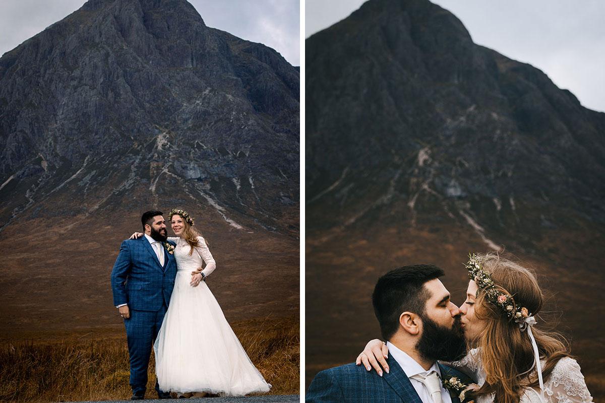 bride and groom Buachaille Etive Mòr Lewis Cannon Photography
