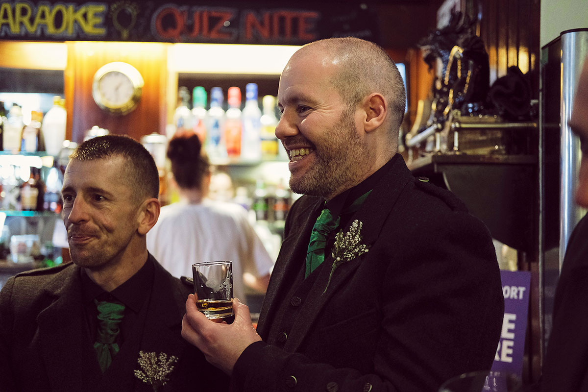 groom and usher drinking in The Vine Bar Edinburgh