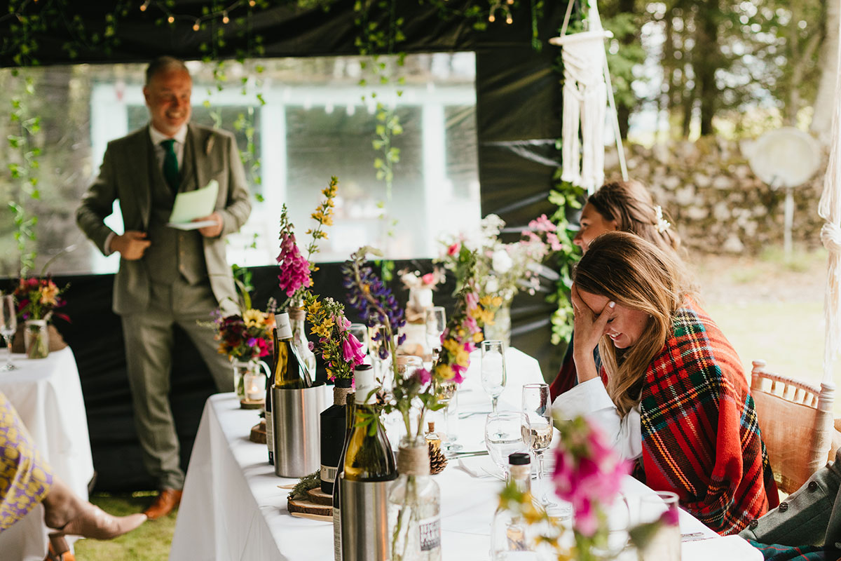 bride embarrassed by father's wedding speech