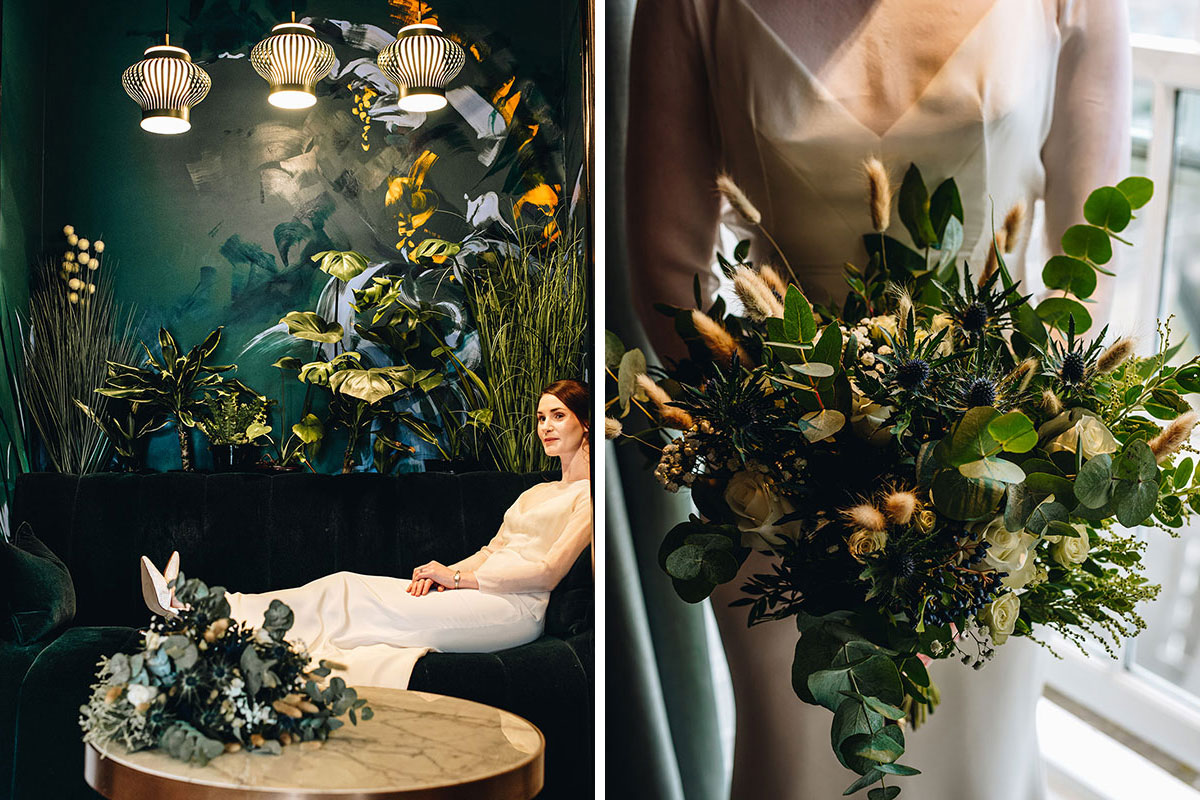 bride sitting in reception of Kimpton Blythswood Square hotel and wedding bouquet by Betty Bluebell