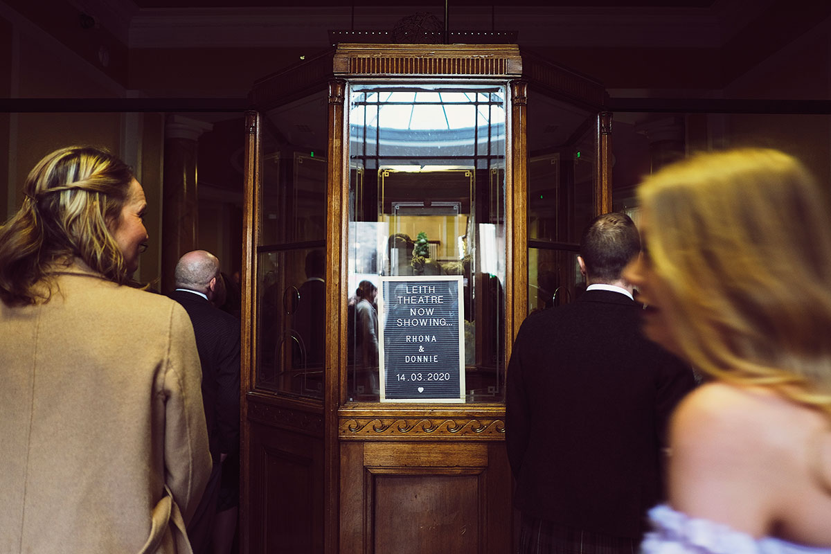 guests entering Leith Theatre for a wedding