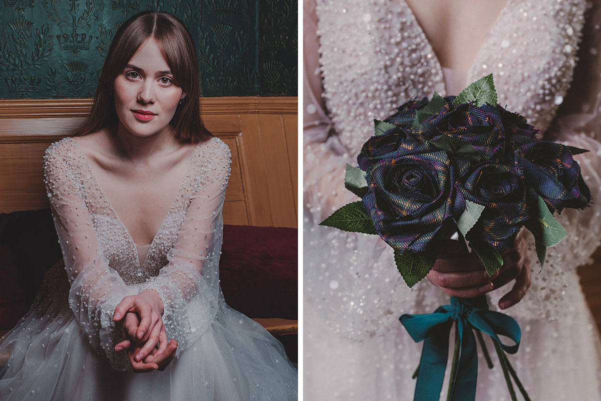 Bride sitting wearing beaded dress by Kudos Bridal Boutique and holding tartan flower bouquet by A Wee Favour