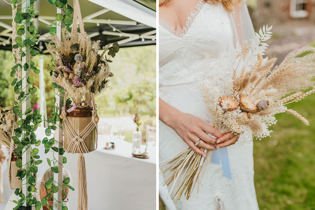 macrame dried flower hanging wedding decoration and bride holding dried wedding bouquet