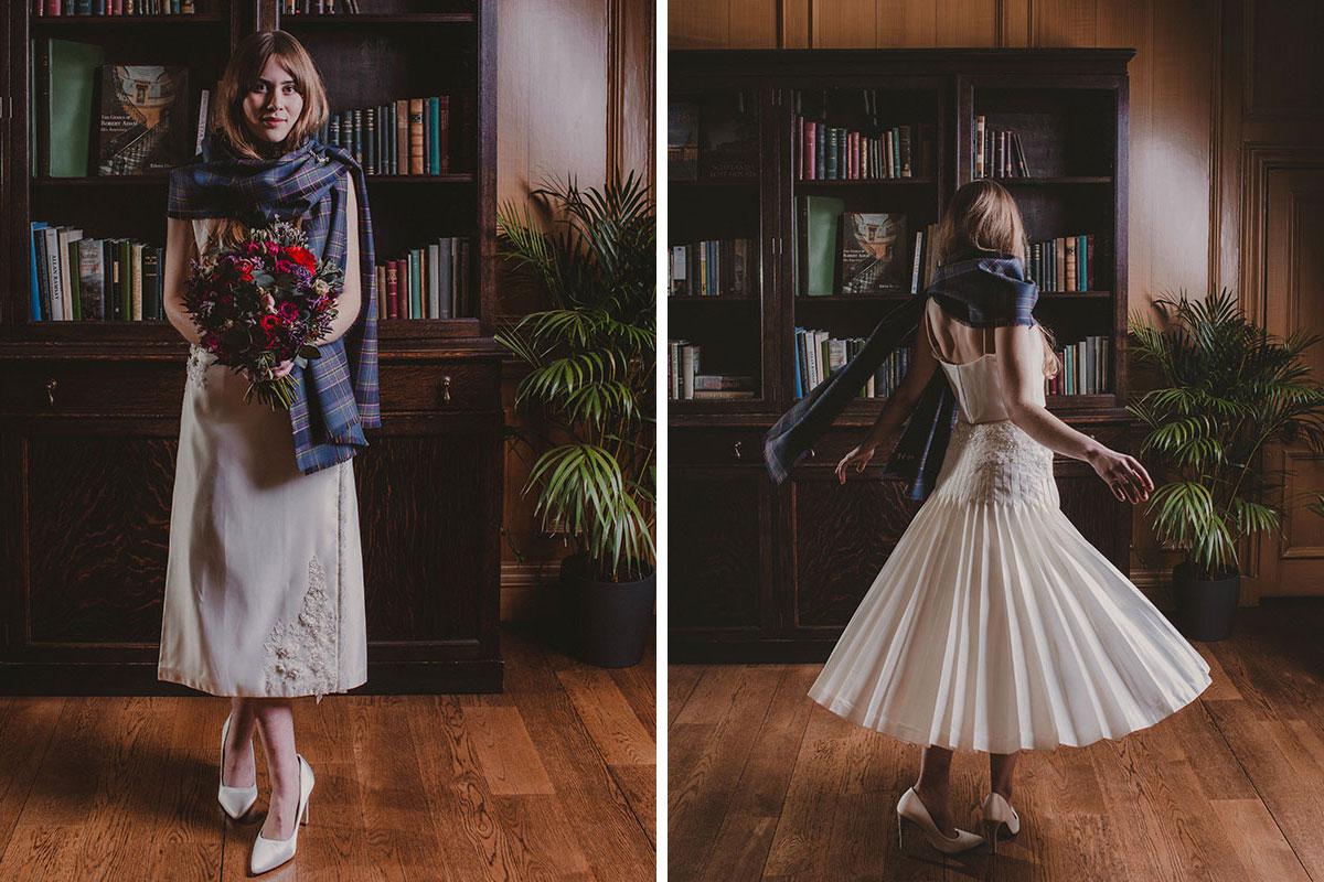 Bride wearing bridal kilt by Emma Wilkinson and tartan shawl by LoullyMakes