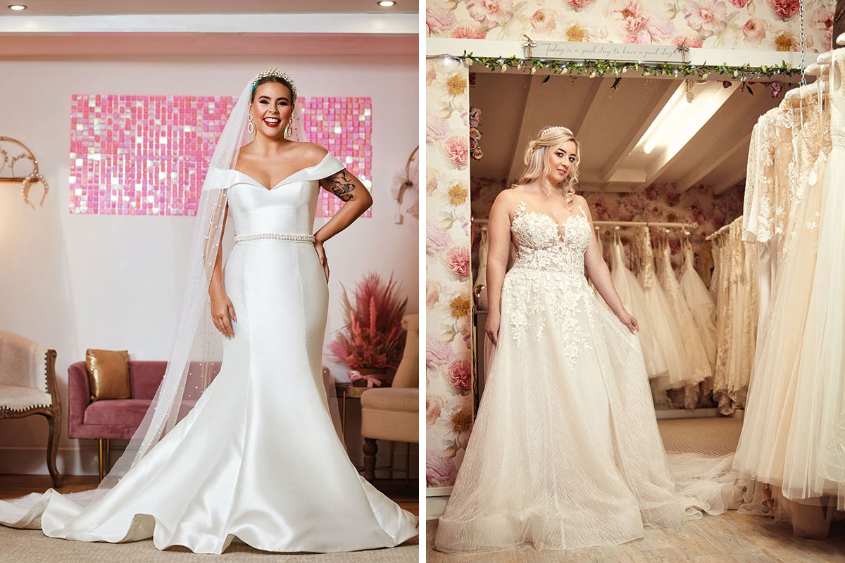 Brides wearing dresses by Amy King Bridal and Beauty and Reflections Bridal Boutique
