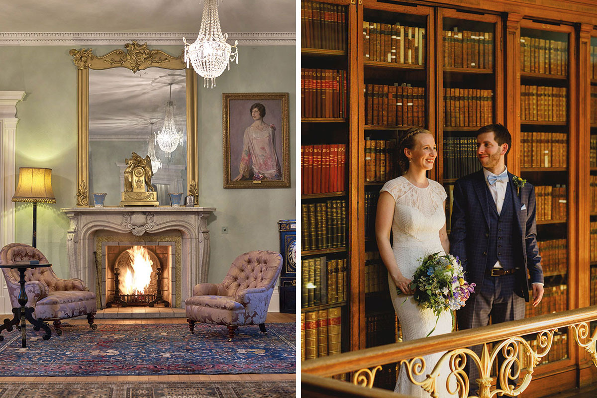 Chairs around fireplace at Dunvegan Castle and bride and groom standing by bookcases at Royal College of Physicians Edinburgh