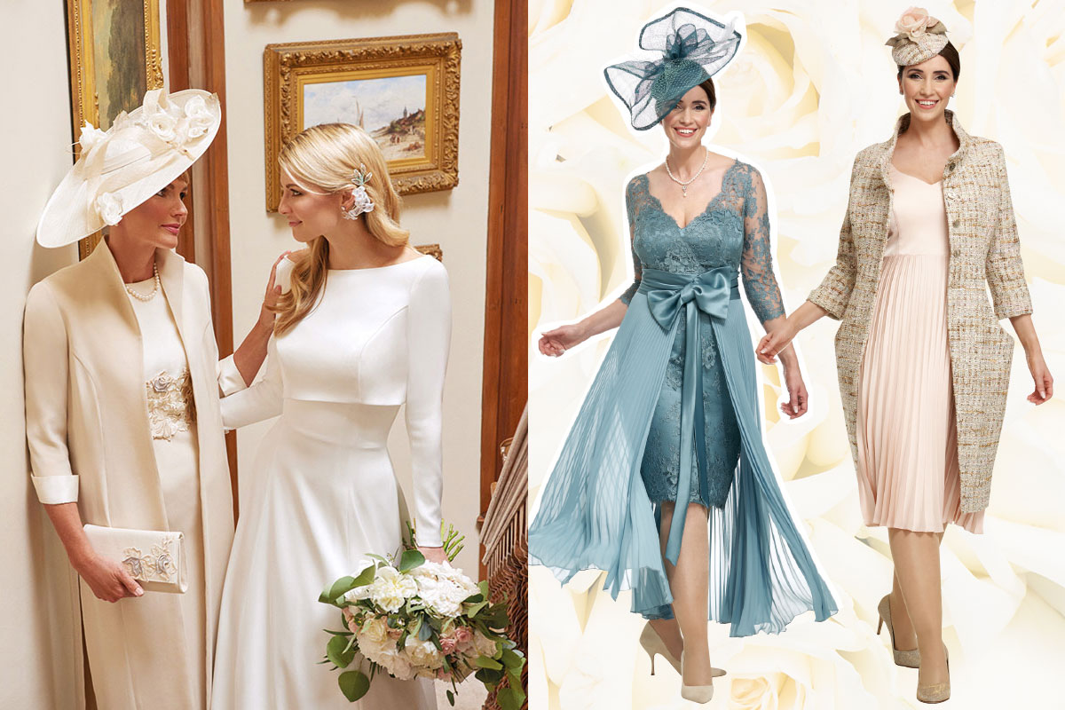 Mother of the bride and bride wearing Joyce Young Design Studios and two couture outfits by Joyce Young Design Studios