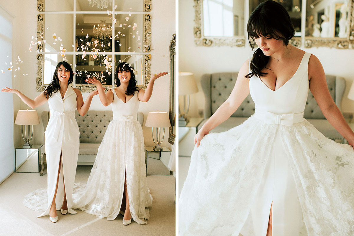 Brides wearing wedding dresses by Joyce Young Design Studio