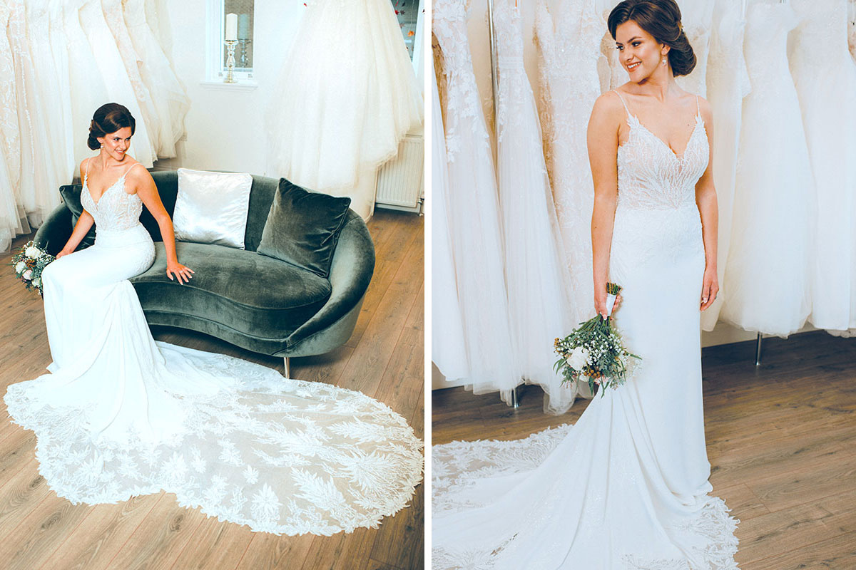 Bride wearing wedding dress by Kathleen Richmond Couture