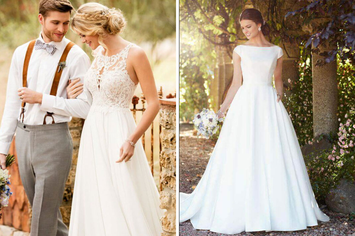 Models wearing Essense of Australia wedding dresses from Kudos Bridal Boutique in Edinburgh
