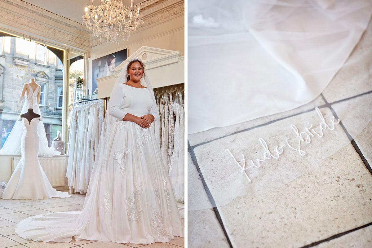 Bride wearing dress by Kudos Bridal Boutique Edinburgh