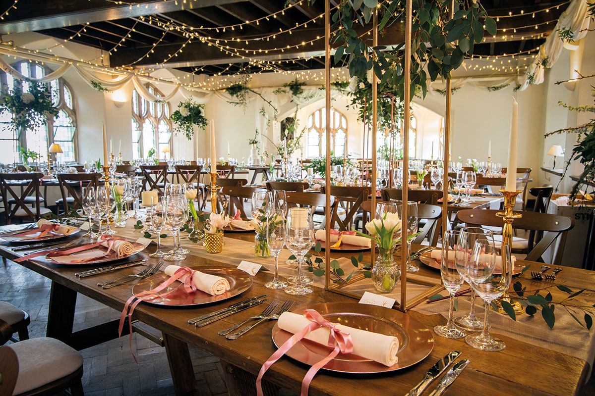 Tenants Hall at Cluny Castle set for a wedding dinner