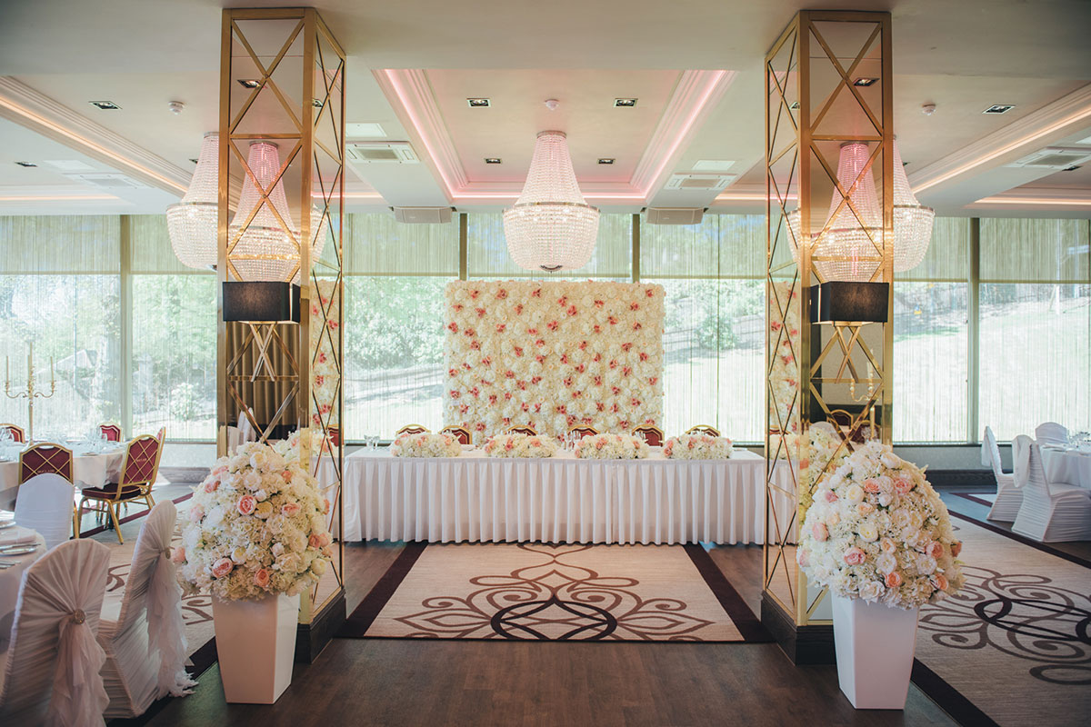 Function room at Boclair House Hotel set for a wedding reception