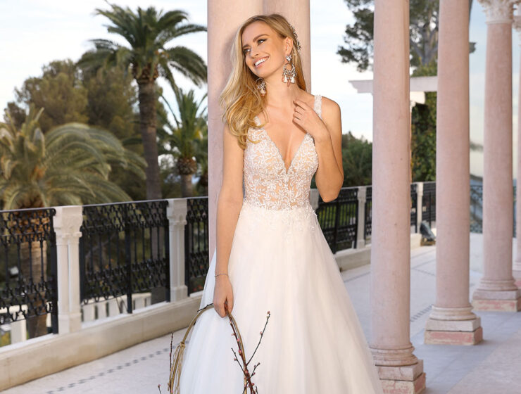 Model wearing Lucky wedding dress by Ladybird Bridal from Kathleen Richmond Couture