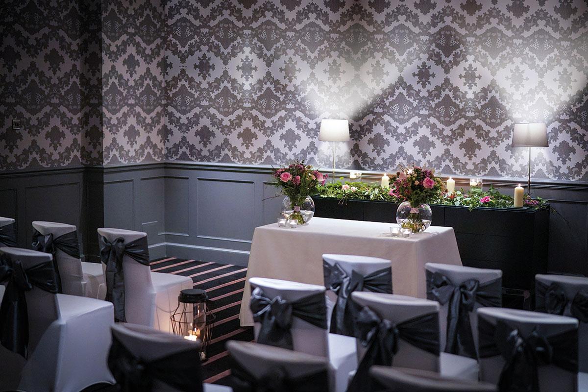 Wedding ceremony set-up at Malmaison Edinburgh Lei