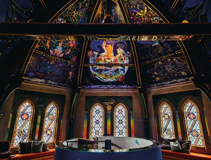 Alasdair Gray painted ceiling mural and stained glass windows on the mezzanine at Oran Mor in Glasgow