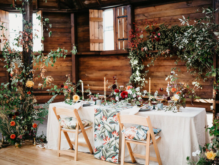 The Elopement Society styled micro wedding photo shoot at the Mart East Lothian wedding venue with flowers by Studio Seapink