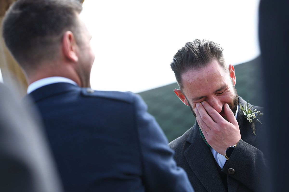 emotional groom during same sex wedding ceremony at The Gathering