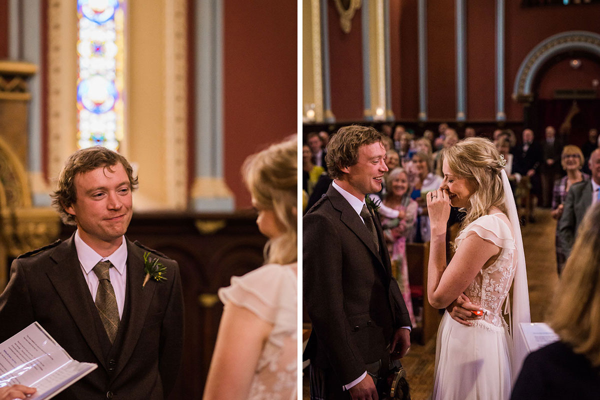 wedding ceremony at Murtly Castle wedding chapel with groom smiling and bride laughing