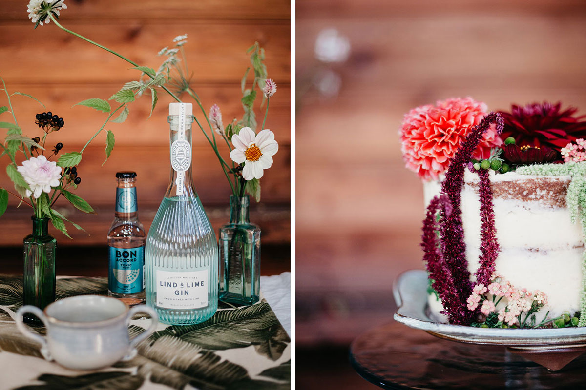 The Elopement Society styled wedding photo featuring Lind and Lime Gin, Bon Accord tonic and wedding cake by Liggy's Larder