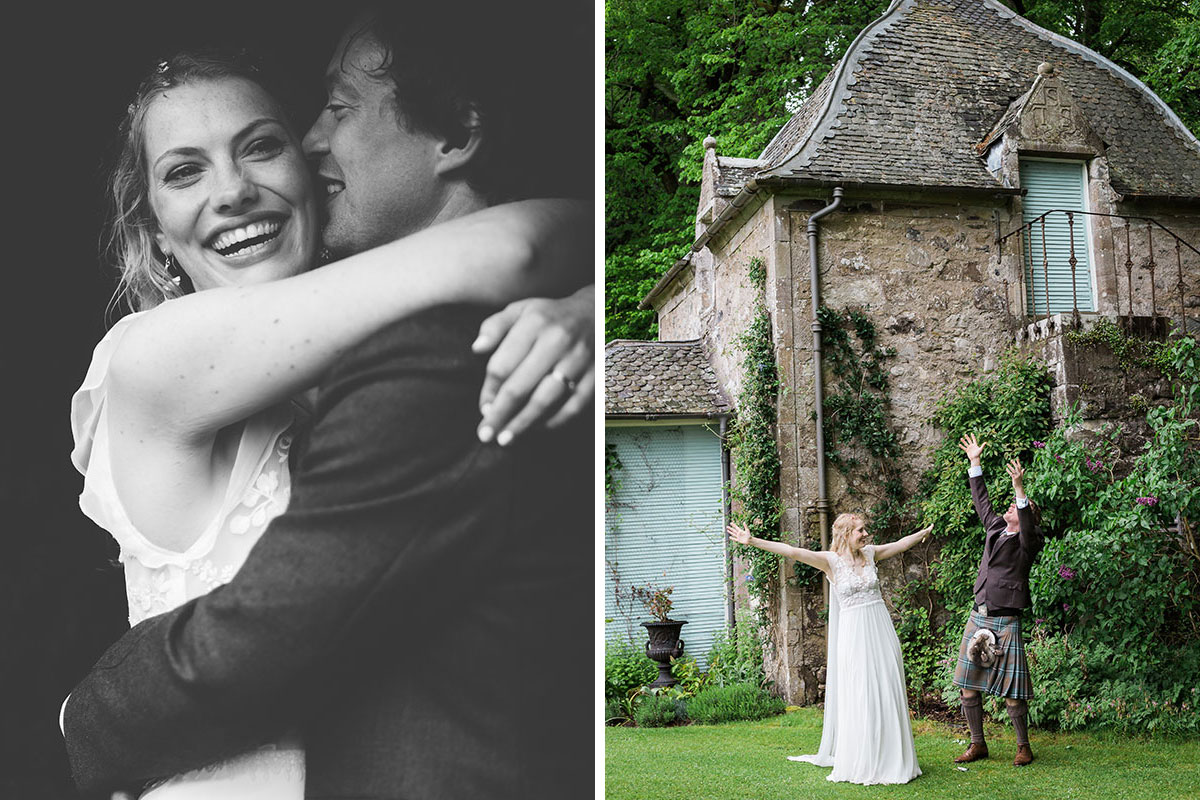 bride and groom hugging and dancing in the rain at Murthly Castle