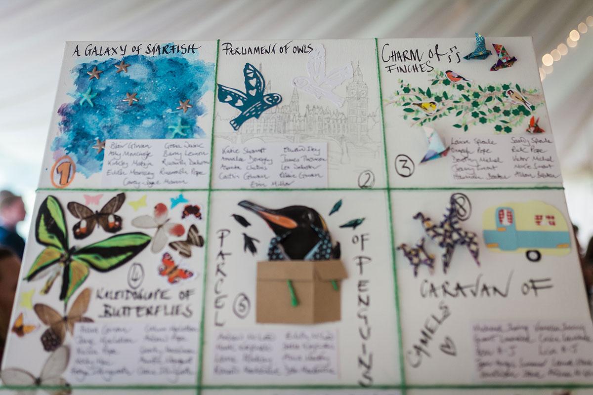 hand-drawn collective animal nouns wedding table plan