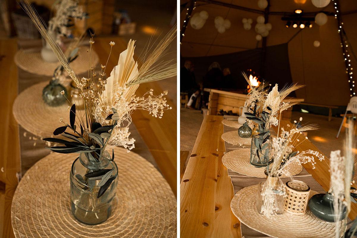 dried flower arrangements in jars by Fiori Glasgow florist