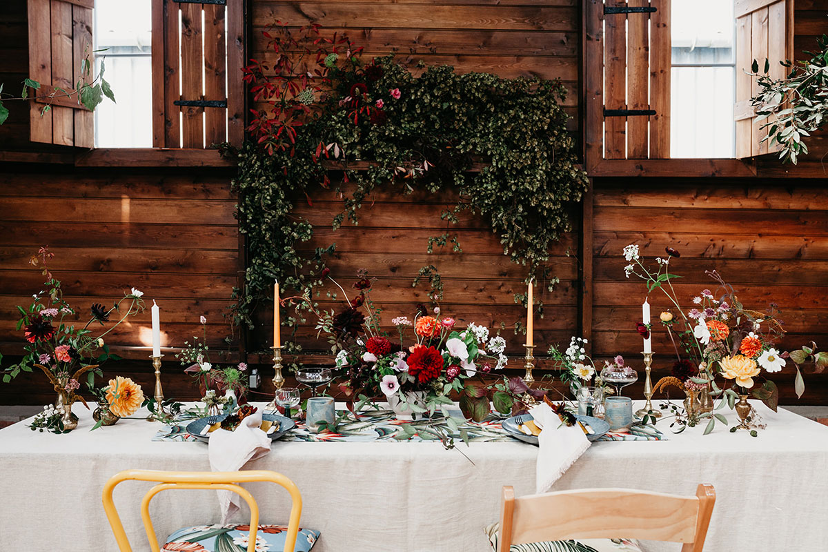 The Elopement Society styled micro wedding photo shoot and dinner table for two at the Mart East Lothian wedding venue with flowers by Studio Seapink