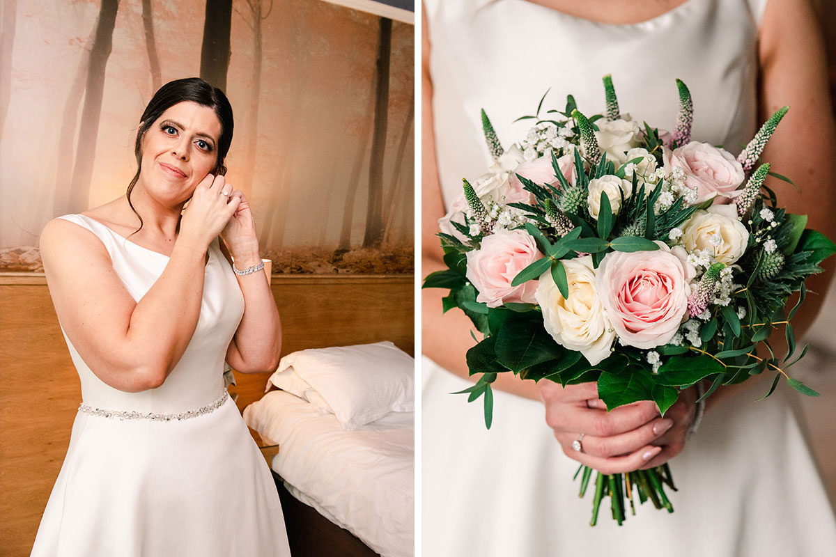 bride fixing her earring and carrying a bridal bouquet by Fiona's Flower Studio at the Waterside Hotel Inverness