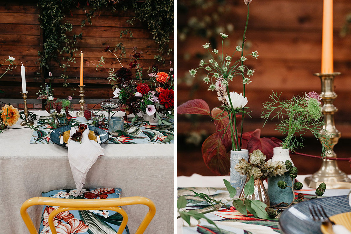 The Elopement Society wedding table setting at the Mart East Lothian
