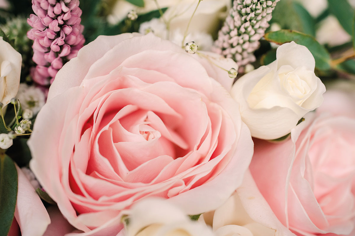 close-up of a pink rose in a bride's bouquet by Fiona's Flower Studio