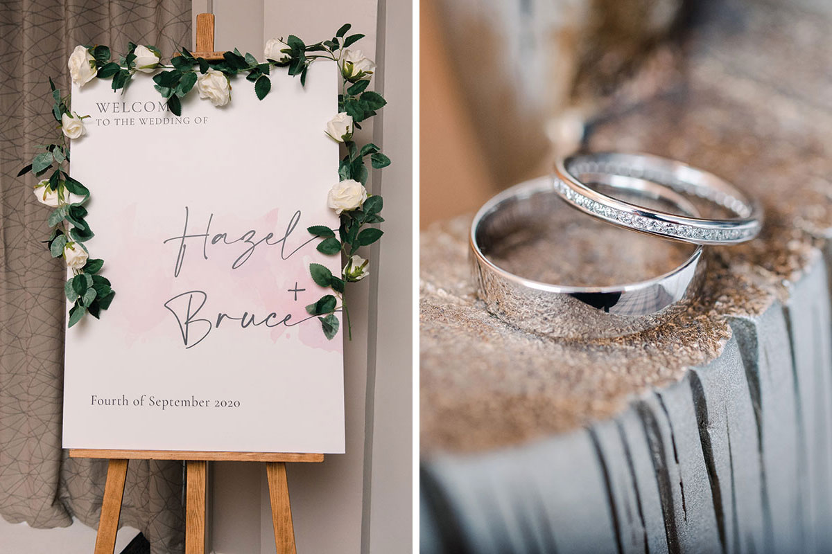 Wedthing wedding welcome sign and wedding rings from Chisholm Hunter