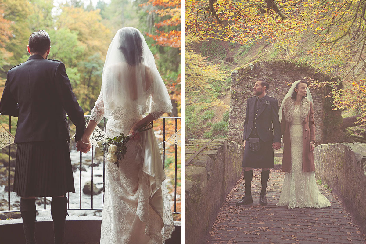 Bride and groom at National Trust for Scotland's The Hermitage in Perthshire