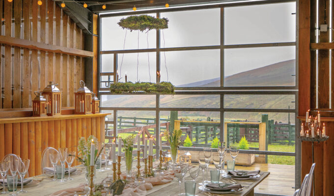Wedding setting with view to hills and fields at Blackhouse Forest Estate in the Scottish Borders