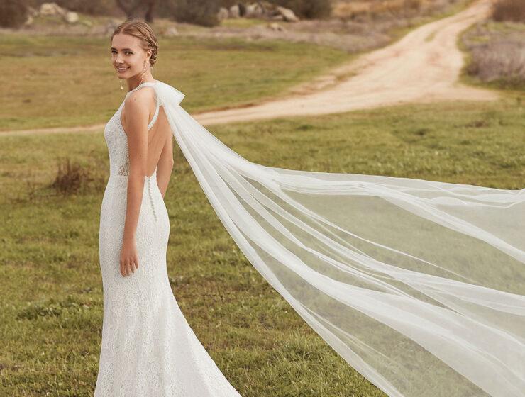 Model wearing Aura wedding dress by Rosa Clara Boheme from Kudos Bridal Boutique in Edinburgh