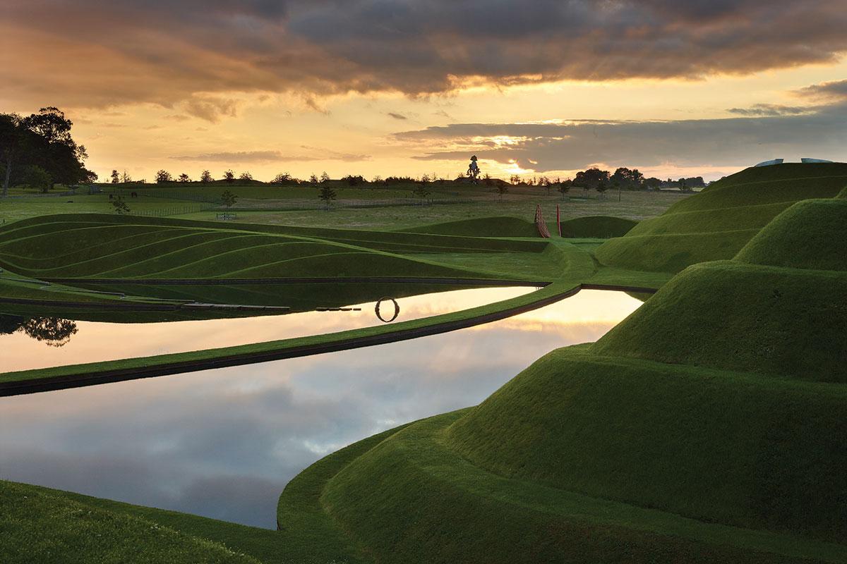 Cells of Life grass sculpture by Charles Jencks at Jupiter Artland near Edinburgh