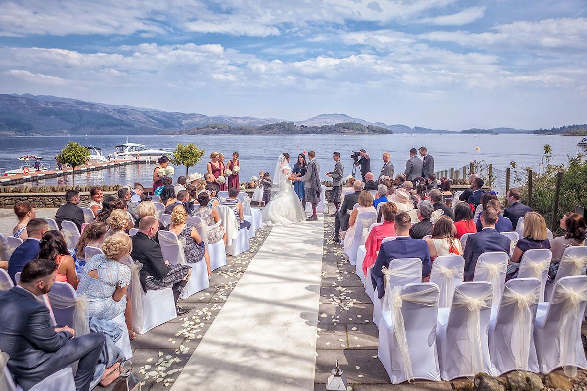 Seated wedding ceremony overlooking Loch Lomond at Lodge of Loch Lomond