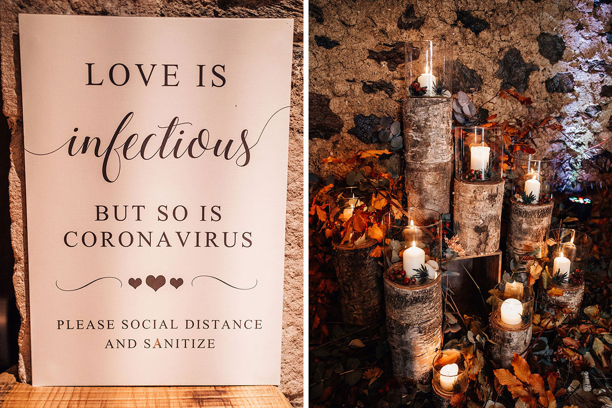 Love is Infectious But So Is Coronavirus wedding sign and logs and candles decorative display by Something Special Blairgowrie